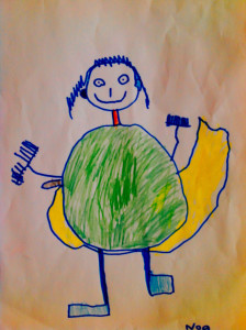 child's drawing a man with hands like brooms