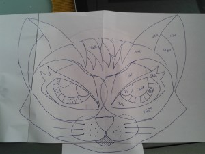Cat drawing for stuffed animal softie to do