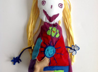 Girls soft toy based on drawing