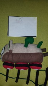 Soft toy train kid's drawing