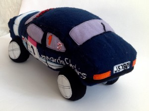 Racing car plush toy